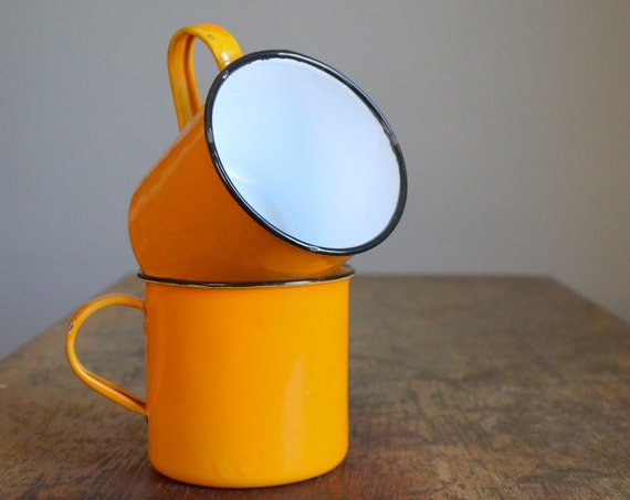 Vintage Orange Enamelware Camping Mug