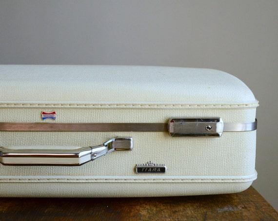 RESERVED .. Vintage 1960s Medium Hard-Shell American Tourister Tiara Suitcase .. White