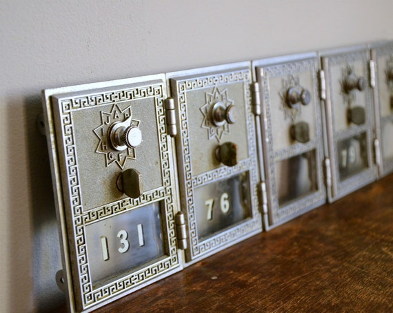 Vintage Post Office Box Door .. Silver
