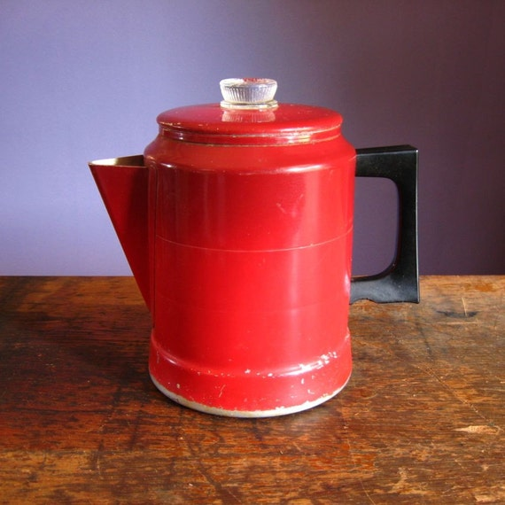 Apple Coffee Maker ~ Vintage aluminum coffee pot candy apple red