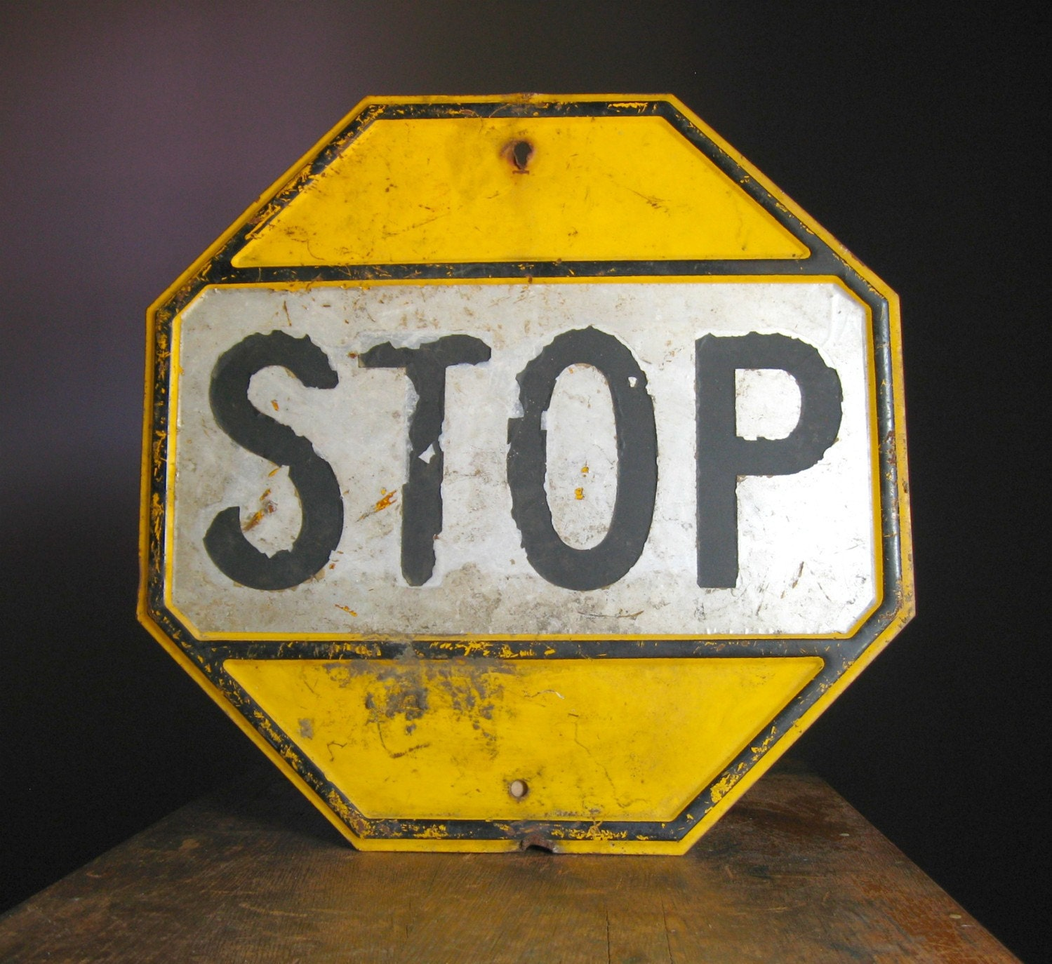 Vintage Metal Stop Sign Yellow Black And White