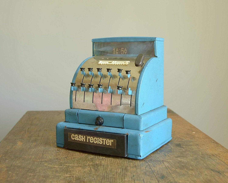 Toy Cash Register : Vintage blue tom thumb toy cash register