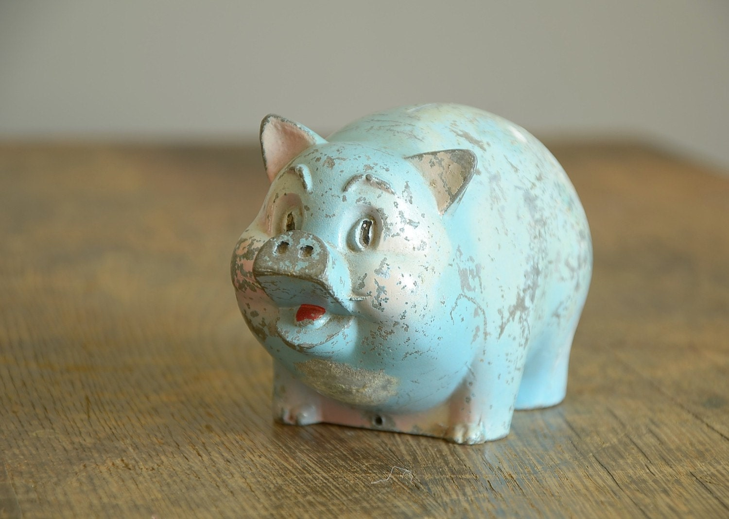 Vintage metal piggy bank baby blue for How to open a tin piggy bank