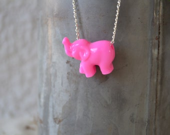 Hot Pink ELEPHANT Charm Necklace. Choose your color