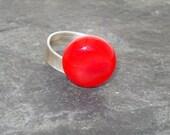 red lampwork ring