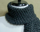 Men's or Unisex Scarf in Charcoal Gray - Ready To Ship Woman's Scarf Short Scarf Muffler