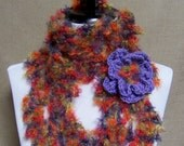 Queen Anne Lace Scarf - Lacy Purple, Orange, Red, Green Mohair with Flower Pin Brooch Ready To Ship Women's Crochet Scarf Girl's Long Scarf