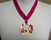 Fuschia Statement Necklace with Shell Pendant - Ready To Ship Crochet Pink Necklace