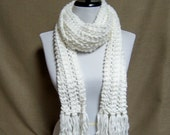 Knit Lacy White Scarf - Ready To Ship Women's Long Girl's Fringe Scarf Sparkle