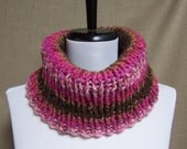 Neckwarmer in Pink, Tan, Brown Stripe Ready To Ship Ribbed Women's Cowl Girl's Scarf Ribbed Gaiter