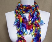 Fringe Binge Fringe Necklace Scarf in Red, Purple, Blue, Green, Yellow, Aqua Ready to Ship Infinity Scarf Circle Knotted Crochet Multicolor