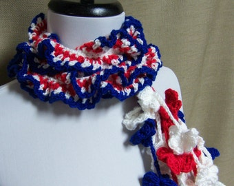 Red, White, Blue Scarf - Ready to Ship Crochet Ruffle Flower Patriotic Long Women's Lariat