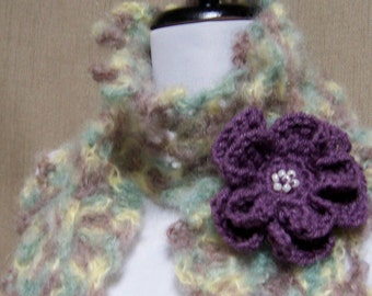 Queen Anne Lace Scarf - Lacy Cream, Dusty Purple, Dusty Aqua Mohair with Flower Pin Brooch - Ready To Ship Women's Crochet Long Girl's Scarf