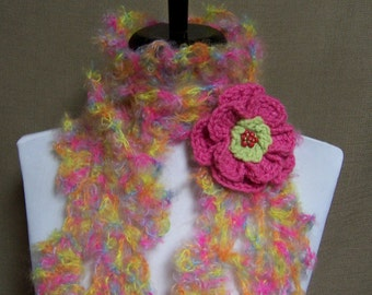 Queen Anne Lace Scarf - Lacy Pink, Yellow, Blue, Orange, Green Mohair with Flower Pin Brooch Ready To Ship Women's Crochet Scarf Girl's Long