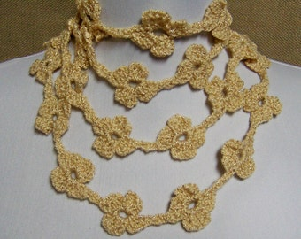 Gold Sparkle Flower Lariat - Ready To Ship Crochet Jewelry Skinny Scarf Necklace