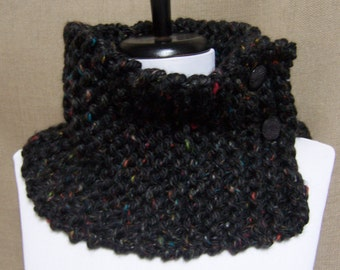 Neckwarmer in Black with Multicolor Flecks - Ready To Ship