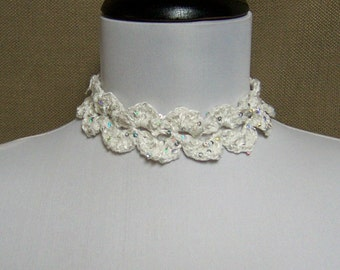 Sequin Lacy White Choker Necklace - Ready To Ship Adjustable Tie Wedding Bridal Bride's Choker