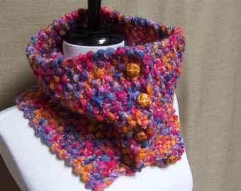 Neckwarmer in Lavender Purple, Pink, Periwinkle, Orange  Ready To Ship Women's Cowl Girl's Scarf Button Neckwarmer Buttoned Cowl