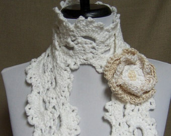 Queen Anne Lace Scarf in White Cotton with Flower Pin Brooch - Ready to Ship Women's Lacy Crochet Scarf Girl's Scarf Wedding Bridal