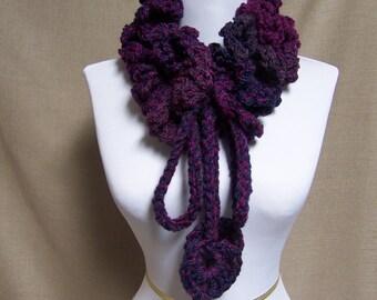 Ruffled Neckwarmer in Purple, Grape - Ready To Ship Adjustable Neckwarmer Adjustable Cowl Adjustable Scarf Crocheted Neckwarmer
