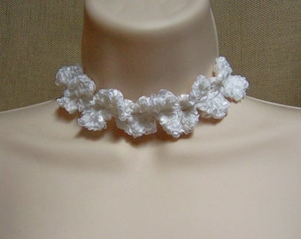 Lacy White Necklace Choker - Ready to Ship Wedding Bridal Crochet Adjustable Necklace