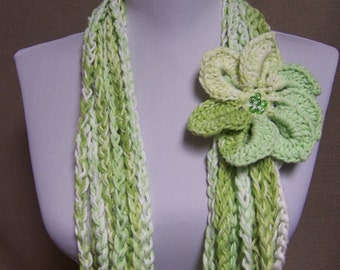 Circle of Chains Scarf in Shades of Lime Green and White Cotton with Flower Brooch Pin - Ready To Ship