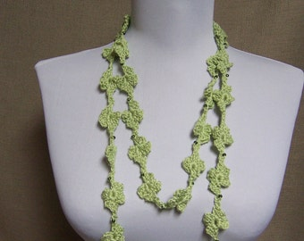 Soft Lime Green Beaded Flower Lariat - Ready To Ship Crochet Jewelry Skinny Scarf Necklace