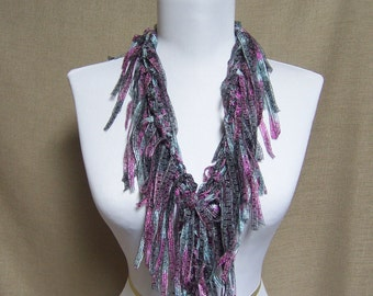 Fringe Binge Fringe Necklace Scarf in Silvery Blue, Deep Pink and Black Ready to Ship Infinity Scarf Circle Scarf Knotted Scarf Multicolor