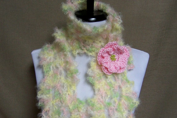 Queen Anne Lace Scarf - Lacy Cream, Pale Yellow, Pink, Green Mohair with Flower Pin Brooch - Ready To Ship Women's Crochet Scarf Girl's Long