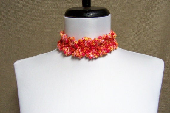 Lacy Necklace Choker in Tangerine, Orange, Yellow and Pink - Ready to Ship