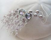 Long Chandelier Earrings Lavender Tourmaline  Mystic Topaz Sterling Silver - Marais