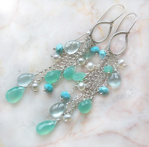Archipelago - Gem Chrysoprase Aquamarine Turquoise - Earrings