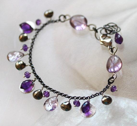 Purple Amethyst Pyrite Dangle Sterling Bracelet - Violette
