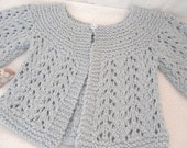 Cotton Baby Sweater - Blue Hand Knit