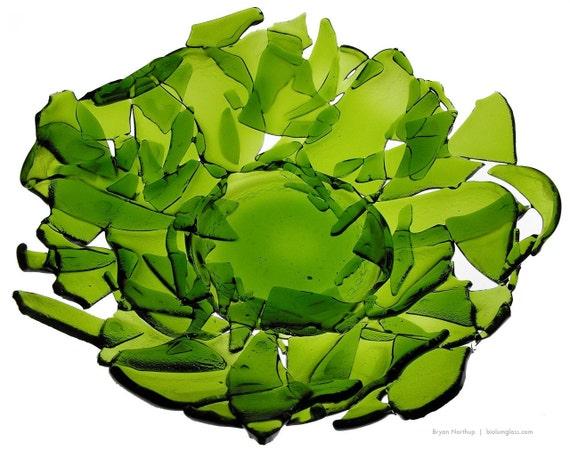 Broken Bottle Bowl - Wine Green