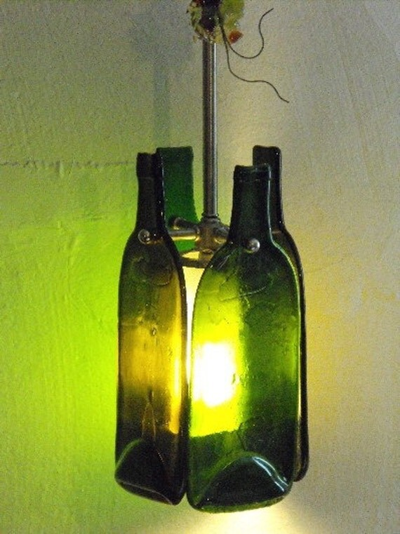 Bottles up one of a kind recycled wine bottle pendant for Champagne bottle lamp