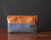 the 9-inch ZIPPER pouch. railroad denim and eco leather.