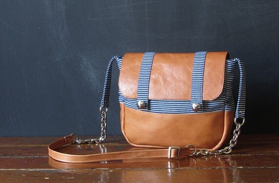 the SMALL SATCHEL. railroad denim and eco leather.