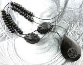 Lotus Blossom Necklace - Black Onyx