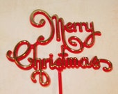 Merry Christmas Picks with Gold Layering on Red Lettering    (Set of 2) Last Pkg