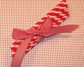 Red and White Barber Striped Paper Straws with Sanding Sugar   (25)