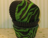 Green and Black Zebra Cupcake Liners Mixed with Black Solid Liners  (32)