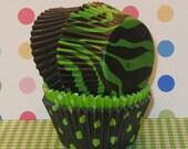 Green Zebra Print Cupcake Liner Party Pack  (32)