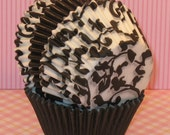 Black Ivy Cupcake Liners Mixed with Black Liners  (40)