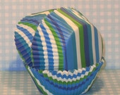 Bright Stripes Cupcake Liners - Blue, Teal and Green   (40)