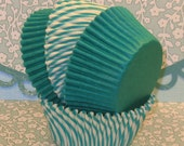 Sea Green Carnival Stripe and Green Solid Combo Pack Cupcake Liners  (40 Qty)