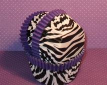 Purple Trim Zebra Cupake Liners  (40)