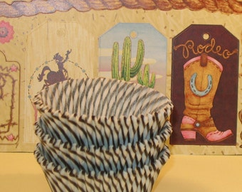 Chocolate Brown and White Stripe Cupcake Liners  (Qty 45)