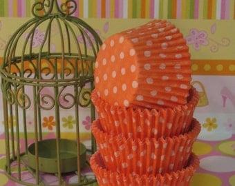 Sunset Orange Polka Dot Cupcake Liners    (Qty 45)