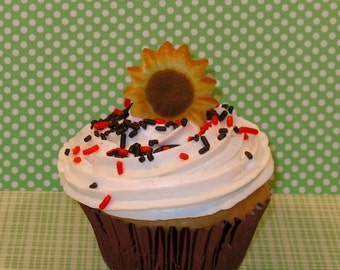 Sunflower Sugar Dec On (Qty 9)  Edible Sunflower Sugar Topper, Cupcake Decoration, Cupcake Topper  (Last Pkg)
